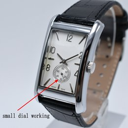 Nuevo estilo de personalizar 6 colores 40 mm rectángulo dial pequeño tres agujas reloj de cuero de cuarzo regalo de negocios de moda de lujo vestido de los hombres reloj desde fabricantes