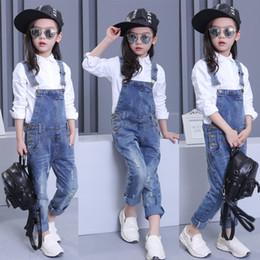 Garota jeans geral on-line-Novo 2018 Crianças Crianças Meninas Roupas Denim Cowboy Buraco Macacão Macacão Playsuit Para Estudante Meninas Adolescentes Azul Calças Jeans Longas