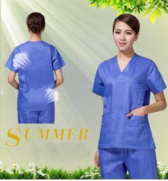 c904c8cf8d4 Short-sleeve Blue Green Medical Coat Uniform Nurse Clothing Lab Coat  Hospital Doctor Unisex Clothes Outfit medico ospedaliero vestiti affordable  hospital ...
