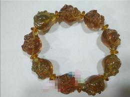 Bracelet en cire d'abeille en Ligne-Bracelet de Bouddha riant authentique de l'eau bleue dominicaine naturel Beeswax Amber B