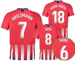 Wholesale homes cost - Thai quality Atletico Home Soccer jersey Diego cost F.TORRES 2018 2019 GRIEZMANN KOKE GABI SAUL CARRASCO Jerseys shirt