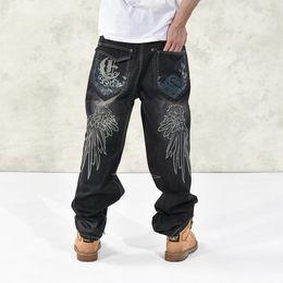 Wholesale baggy jeans fashion - Mens Baggy Jeans Men Wide Leg Denim Pants Hip Hop 2017 New Fashion Embroidery Skateboarder Jeans Hip Hop For Men