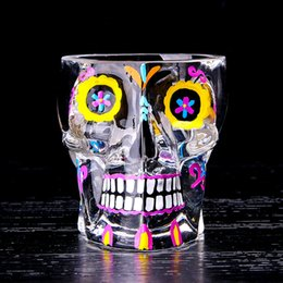 Wholesale tools for cutting glass - Personality Print Color Skull Design Wine Glasses Transparent Creative 70ml Cups For Bar Club Party Drinking Decoration Tools 15 8xr Z