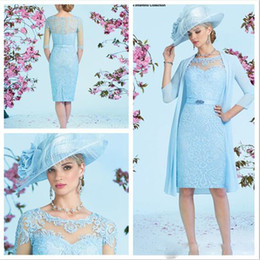 Wholesale Fitted Winter Dresses - Luxury Ronald Joyce Mother Of The Bride Dresses Baby Blue Fitted Knee Length Lace Dress With Long Chiffon Jacket Mother's Dresses