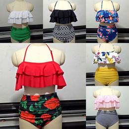 Trajes de baño chic online-Mujeres Retro Boho volante de cintura alta Bikini Set traje de baño elegante 2 unids traje traje de baño Bikini sujetador con relleno WX9-647