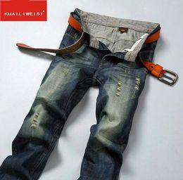 Vuelo europeo online-venta Highly street Skinny Button Fly Jeans Marca europea Micro-elástica Denim Desinger D857-T36 Slim Fit agujeros en mal estado Elasticidad MENS Jeans