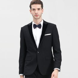 Wholesale Purple Tailored Jacket - Classic Black Wedding Suit Groom Tuxedos Tailor-Made Suit 2 Pieces (Jacket+Pants) Skinny Single Breasted Men Suits 2018 New