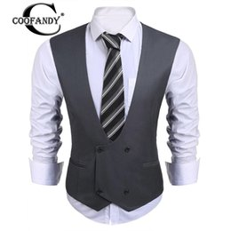 Wholesale Men Double Breasted Suit Slim - COOFANDY 2017 Newest Male Clothes V-Neck Sleeveless Double-breasted Solid Slim Fit Business Suit Vest