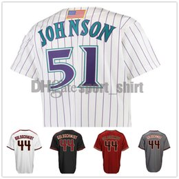 Wholesale high johnson - Mens jerseys Baseball jerseys 44 Paul Goldschmidt 51# Johnson High quality NICE Stitched Embroidery Logo Cheap Sales and Free Shipping