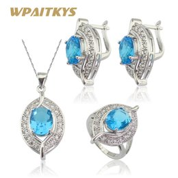 Wholesale Blue Jade Rings - whole saleWPAITKYS Silver Color Jewelry Sets For Women Christmas Blue Crystal Hoop Earrings Pendant Necklace Ring Free Gift Box