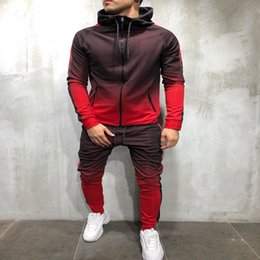 jogging pants zipper Promo Codes - Casual Men's Tracksuit Long Sleeve Gradient Hooded Jogging Tops Bottom Sporty Sweat 2PCS Suit Trousers Hoodie Coat Pant