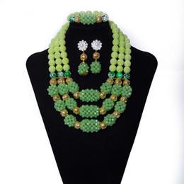 Canada Boule de cristal vert clair et perles de corail fait main collier de perles mariage africain mariée perles ensemble de bijoux nigérian ensemble de bijoux pour les femmes Offre