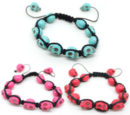 Wholesale Turquoise Skull Beads Wholesale - Shamballa Skull Bracelets Turquoise Skull Beads Bracelets Mens Shamballa Bracelet For Women Wholesale Free DHL G386S