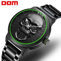 047b3406146 Relógios dos homens DOM Estilo Crânio Criativo Relógio de Pulso Top Marca  de Luxo Luminosa Quartz Relógio Masculino Preto Reloj Hombre M-1231D