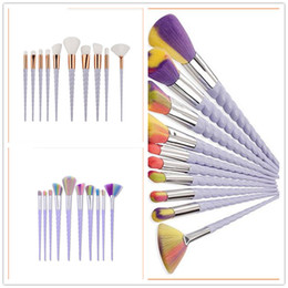 Wholesale Wholesale Makeup Brush Tops - top Spiral handle Makeup Brushes 10PCS Makeup Brushes Tech Professional Beauty Cosmetics Brushes Sets Free Shipping B006
