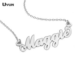 Wholesale Personalized Jewelry Friends - Wholesale- Personalized Carrie Style Name Necklace Silver Custom Name Plate Necklaces Fashion Statement Necklace For Best Friend Jewelry