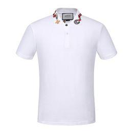 2019 conception de broderie de vêtements Polo Slim Casual pour hommes d'été pour hommes de qualité supérieure broderie Design Polos # 0726 Hommes Coton Pull à manches courtes Chemise Vêtements conception de broderie de vêtements pas cher