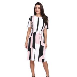 Cinturones midi online-FeiTong O-cuello de manga corta de impresión midi vestido Elegante otoño de mujer OL vestido Sexy vestidos de época cinturón de encaje hasta 2018