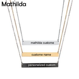 Wholesale Engraved Necklace Name - whole sale30*7mm Gold Color Bar Custom Engraved Name Necklace For Women Personalized Initial Necklace Chain Etsy Supplier D379