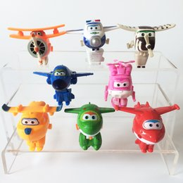 airplane jets Coupons - 8pcs  Lot Super Wings Mini Airplane Robot Toy For Children Action Figures Super Wing Transformation Jet Kids Brinquedos Lf741
