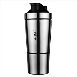 Wholesale Stainless Steel Weights - FREE SHIPPING Stainless Steel Shaker 500ml Metal Protein Shake Mixer bottle Drink Protein Whey Weight Gainer Shaker Bottle SALE