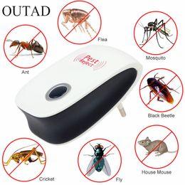 Reattore zanzara del mouse online-Eu Us Plug Electronic Cat ultrasuoni Anti Mosquito Insect Pest Controler Mouse Blatta Repeller parassiti Enhanced versione