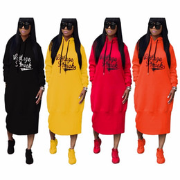 Wholesale plus size hooded dresses - Factory Wholesale Women Winter Dress Hooded Long Sleeve Letter Print Dresses Casual Vestidos Longo TS702