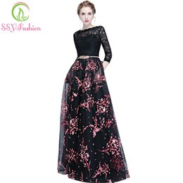 Wholesale Sexy Black Long Sleeved Shirt - SSYFashion New Evening Dress Banquet Elegant Black Lace Stitching 3 4 sleeved Floor-length Long Prom Party Gown Robe De Soiree