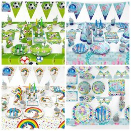 Wholesale napkins plates - 4 Styles Soccer Mermaid Tableware Set Birthday Party Decoration Kids Napkin Cups Tablecloth Flag Straw Plate Party Supplies CCA10016 10set