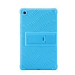 Wholesale tablet covers inch rubber - 100pcs Soft Silicon Rubber TPU Back Cover for Huawei Mediapad M5 8.4 SHT-AL09 SHT-W09 8.4 inch Tablet Protective Pouch Bag Case Stand
