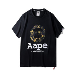 Wholesale men s new model shirt - 18SS spring summer men and women couple models 100% new Aape summer head casual tide short-sleeved T-shirt