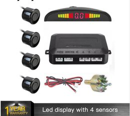 2019 câmera reversa bmw Um Conjunto Conduziu Sensor de Estacionamento Auto Car Detector Parktronic Display Backup Reversa Radar Monitor System com 4 Sensores