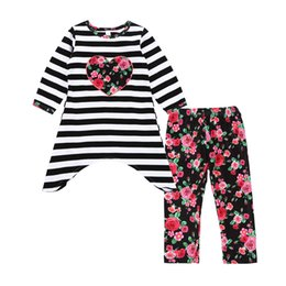 Wholesale Long Sleeve Dresses Toddlers - Long Sleeve Flower Girl Clothing Sets Autumn Floral Heart Stripe Dress Pants Toddler Girls Clothes Outfits 2pcs Kids Clothing Set