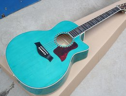 Wholesale Guitar Red Blue - Factory Custom 41'' Acoustic Guitar with Blue Body,Flame Maple Veneer Back and Sides,Red Pickguard,Can be Changed
