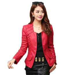 Wholesale cheap leather sleeves - 2018 Autumn leather jacket women casual long sleeve faux short coat fashion mosaic plus size PU cheap bomber jacket femininas