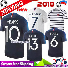 Wholesale Free Soccer Jerseys - size S-XXL 2018 2019 France Soccer Jerseys World Cup 18 19 COMAN home away POGBA GRIEZMANN PAYET KANTE Mbappe Football shirts Free shipping