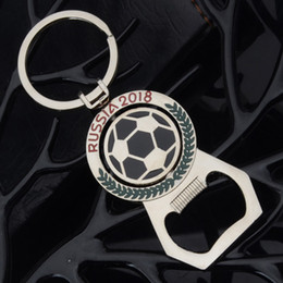 Wholesale Rotating Keychain - 2018 World Cup Football Keychain Creative Mascot Metal Bottle Opener Rotating Soccer Key Chain Openers Pendant Gifts Free DHL WX9-286
