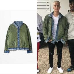 Giacca di stile dell'esercito delle donne online-Giubbotto bomber reversibile MA1 Giubbotto reversibile stile pilota Justin Bieber Denim jeans e tuta verde militare Uomo e donna