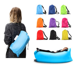 Wholesale camping beach chair - Hot Inflatable Outdoor Lazy Couch Air Sleeping Sofa Lounger Bag Camping Beach Bed Beanbag Sofa Chair