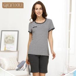 Wholesale- Qianxiu Pajamas For Women Summer Casual Women Pajama Set Stripe  Short-sleeve Lounge wear 783e6c15f