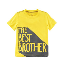 Wholesale Best Toddler Clothes - 100pcs The Best Brother Baby Boys Tees Shirts Newborn Clothes Tops Cotton Short Sleeve Yellow Children T-Shirt Toddler Kids Outfit 0-2Year