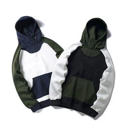 Wholesale Korean Sweatshirts Men - Korean Harajuku Hoodie Fleece White Blue Patchwork Mens Hip Hop Casual Pullover Streetwear 2018 Spring Winter Hoodie Sweatshirt a5046