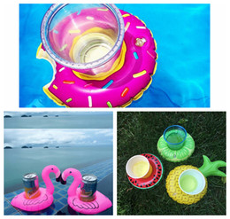 Wholesale air inflatables - Float Flamingo Cup Holder Coasters Inflatable Drink Holder for Swimming Pool Air Mattresses Pineapple Donut for Cup DDA137
