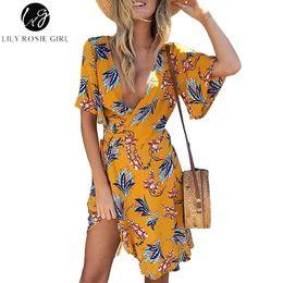 vestido de manga corta amarillo niña Rebajas Lily Rosie Girl Yellow Print Wrap Dress Flare Manga Corta Floral Mini Mujeres Vestidos de verano 2018 Beach Sexy V Neck boho Vestidos