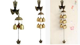 Wholesale wall hanging bell - Korean Style Fortune Spoon Copper Wind Chimes Supplies With 3 6 9 Bells Shop Home Room Wall Hanging Decoration Crafts Kids Birthday Gifts