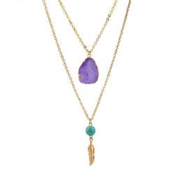 Ciondolo perle di druck online-Collana di perle druzy druny multistrato naturale con pendente di piume di ircha di sfera irregolare della collana della perla di Irregularity per i monili delle donne