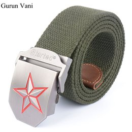 Wholesale Red Star Belt Buckle - 3D Red Star Automatic Buckle Belts Fashion Men's Canvas Belts Male Casual Strap Waist of Trousers Luxury Belt 110 140CM