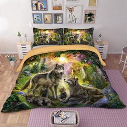 Wongsbedding Dropshipping 3D Wolf funda nórdica conjunto 3pcs individuales doble reina King Bedclothes juegos de cama desde fabricantes