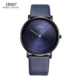 Wholesale Ultra Thin Mens Watch - IBSO 7MM Ultra-thin Mens Watches 2017 Exquisite Design Dial Genuine Leather Strap Blue Quartz Watch Men Fashion Male Clock