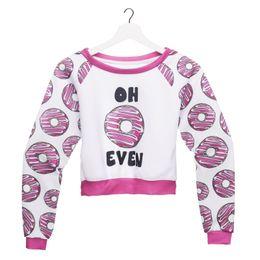 Deutschland Frauen Ernte Sweatshirt Oh Donut 3D Full Print Mädchen freie Größe Stretchy Casual kurze Hoodies Lady Long Sleeves Tops Sweatshirts (GL36109) supplier donut sweatshirt Versorgung